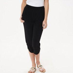 Susan Graver Petite Liquid Knit Crop Pants Ruching